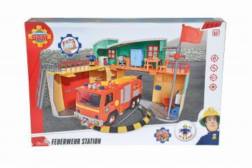 Simba 109258282 - Sam, Neue Feuerwehrstation mit Figur